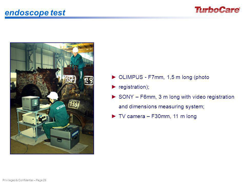 endoscope test OLIMPUS - F7mm, 1,5 m long (photo registration);