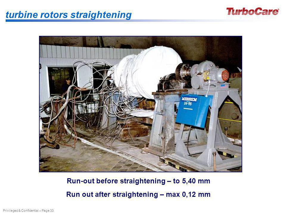 turbine rotors straightening