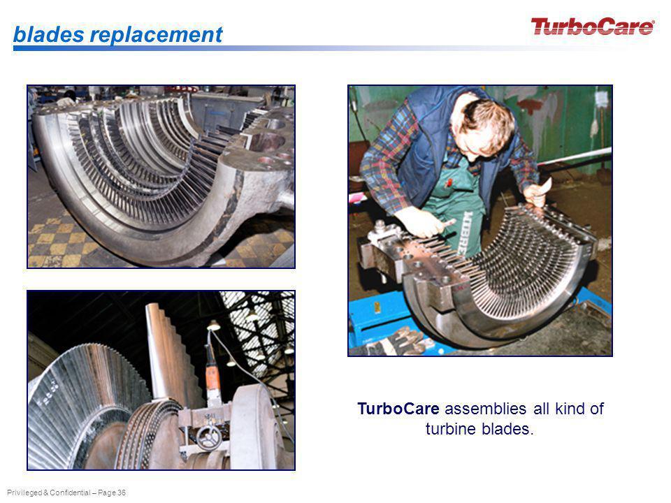 TurboCare assemblies all kind of turbine blades.