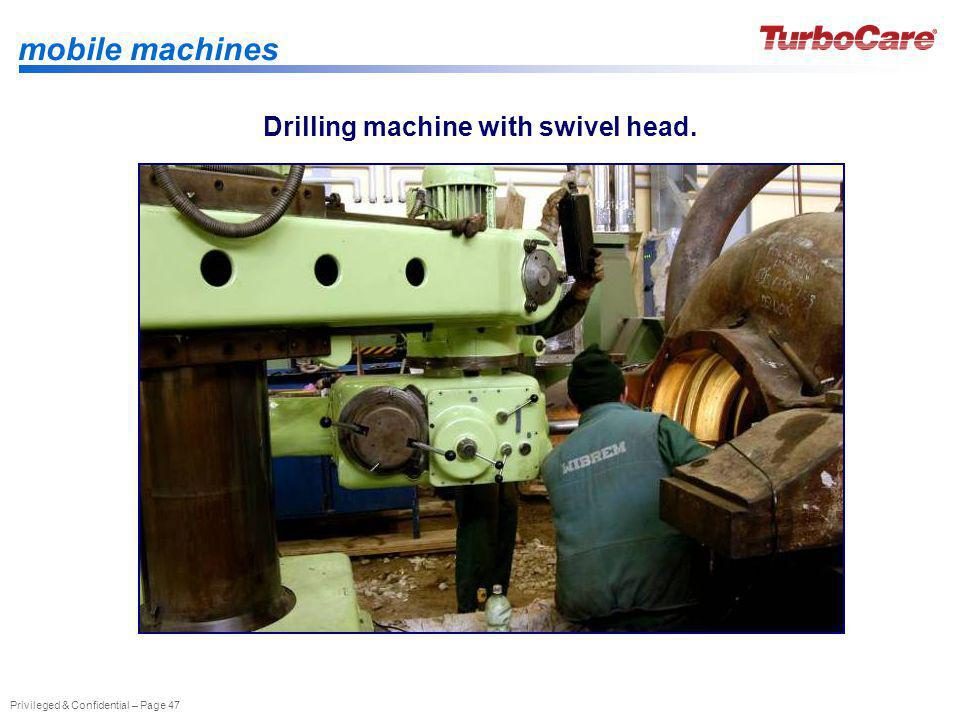 Drilling machine with swivel head.