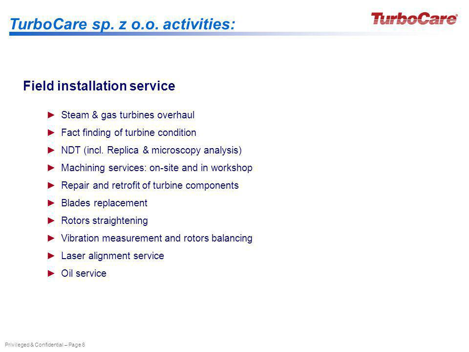 TurboCare sp. z o.o. activities: