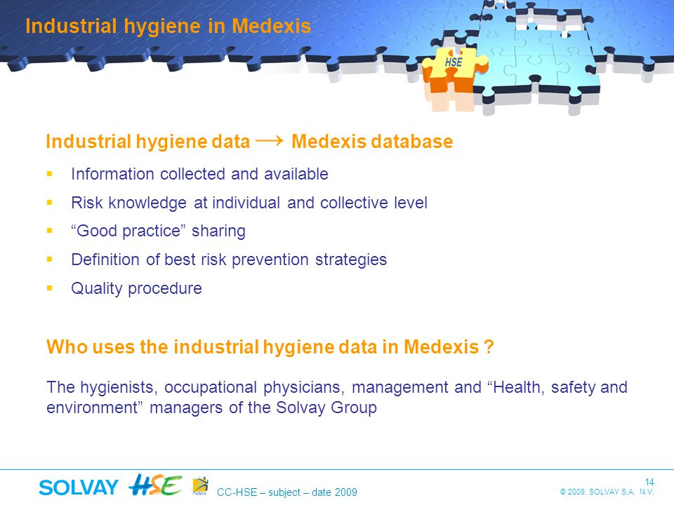 Industrial hygiene in Medexis