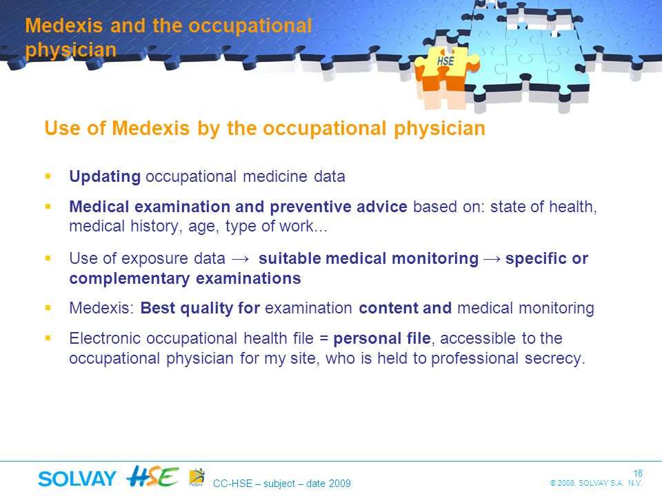 Medexis and the occupational physician