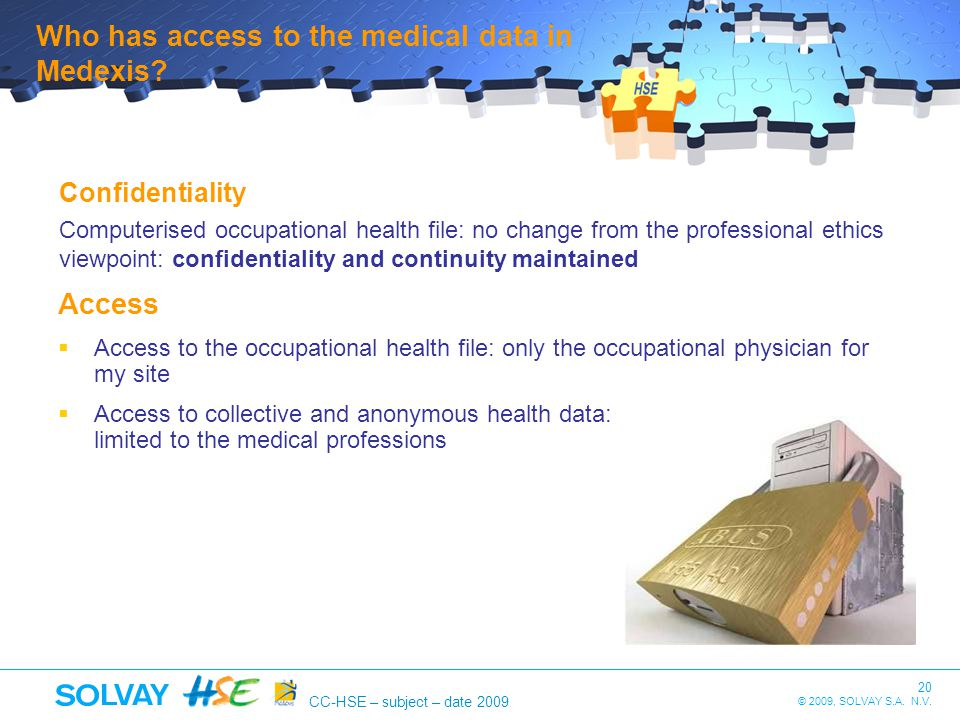 Who has access to the medical data in Medexis