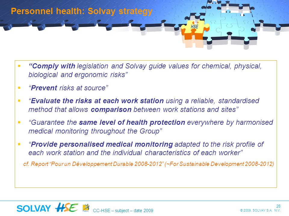 Personnel health: Solvay strategy