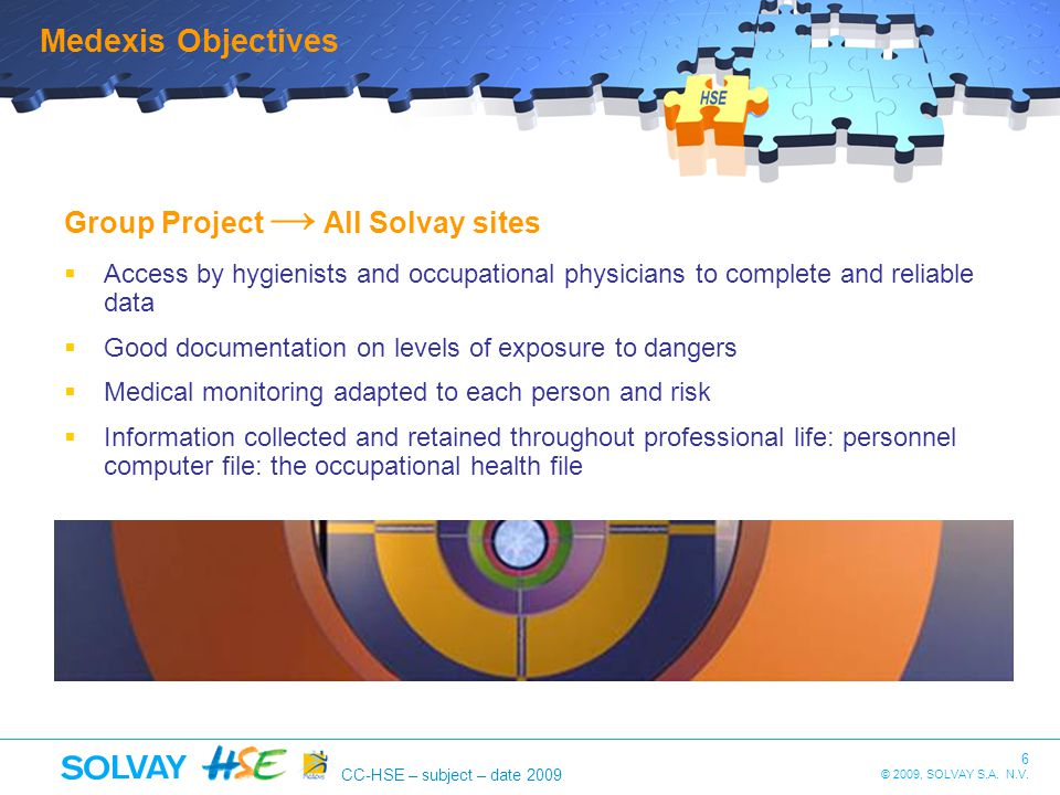 Medexis Objectives Group Project → All Solvay sites