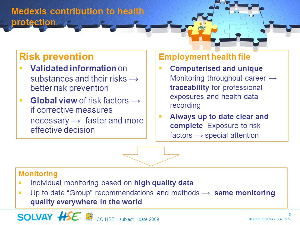 Risk prevention Medexis contribution to health protection