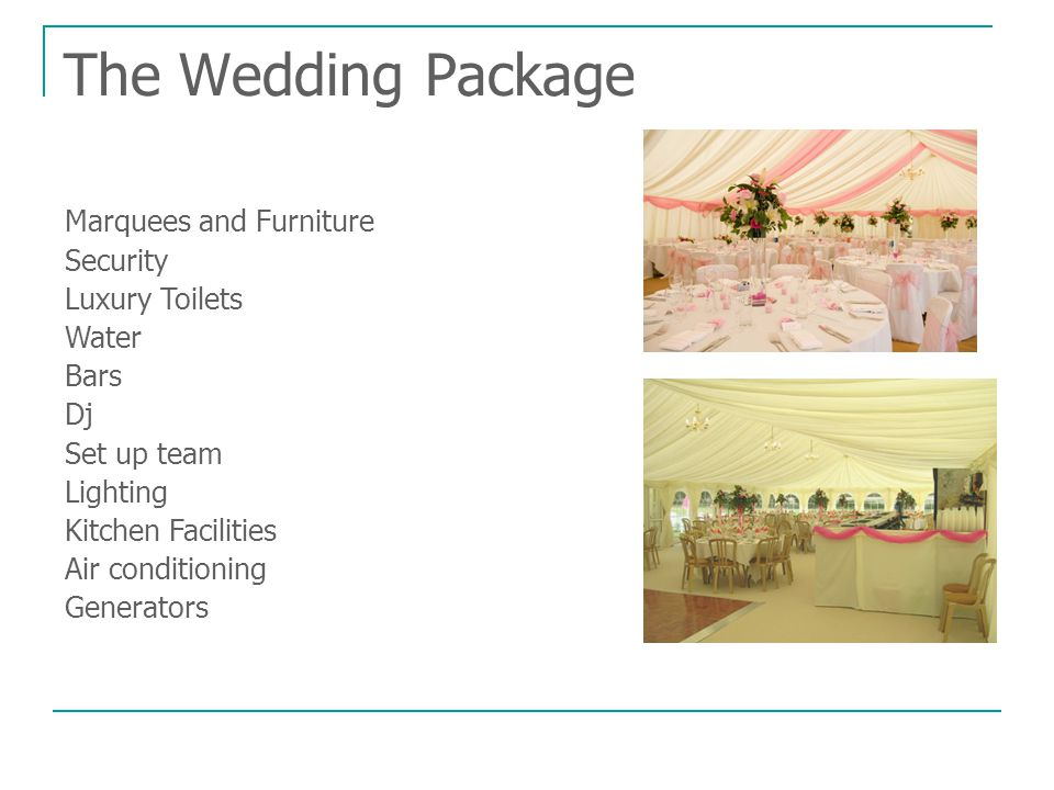 The Wedding Package Marquees and Furniture Security Luxury Toilets