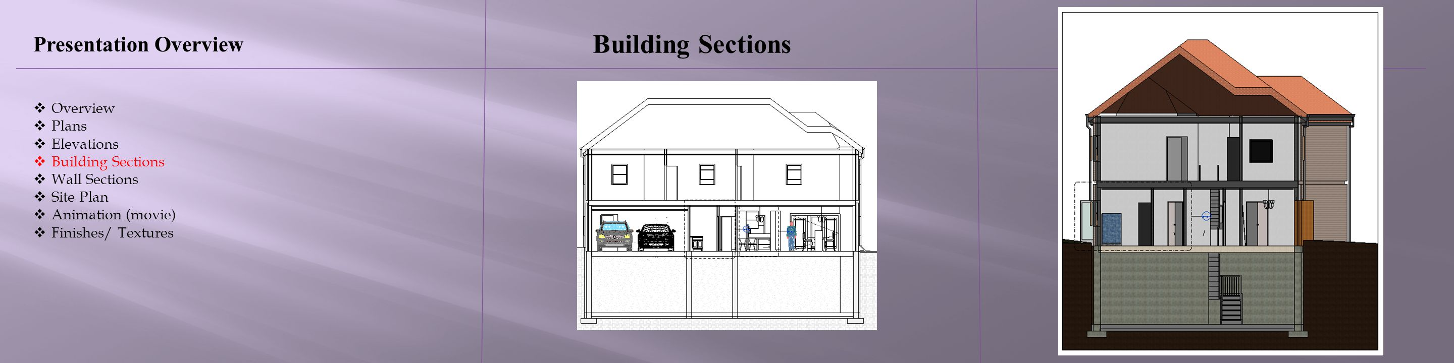 Building Sections Presentation Overview Overview Plans Elevations