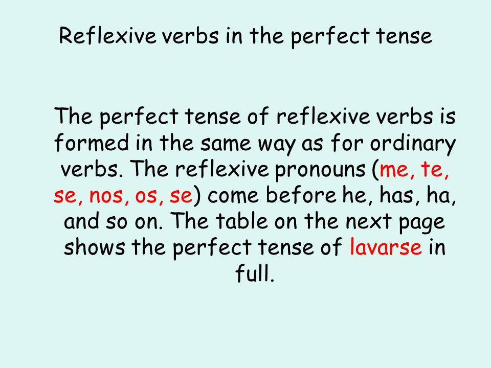 Reflexive verbs in the perfect tense