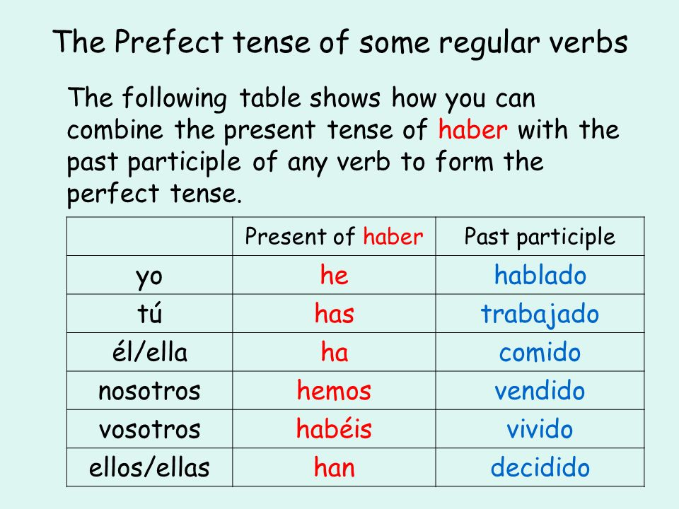 The Prefect tense of some regular verbs