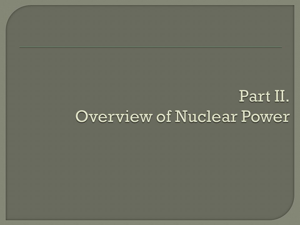 Part II. Overview of Nuclear Power
