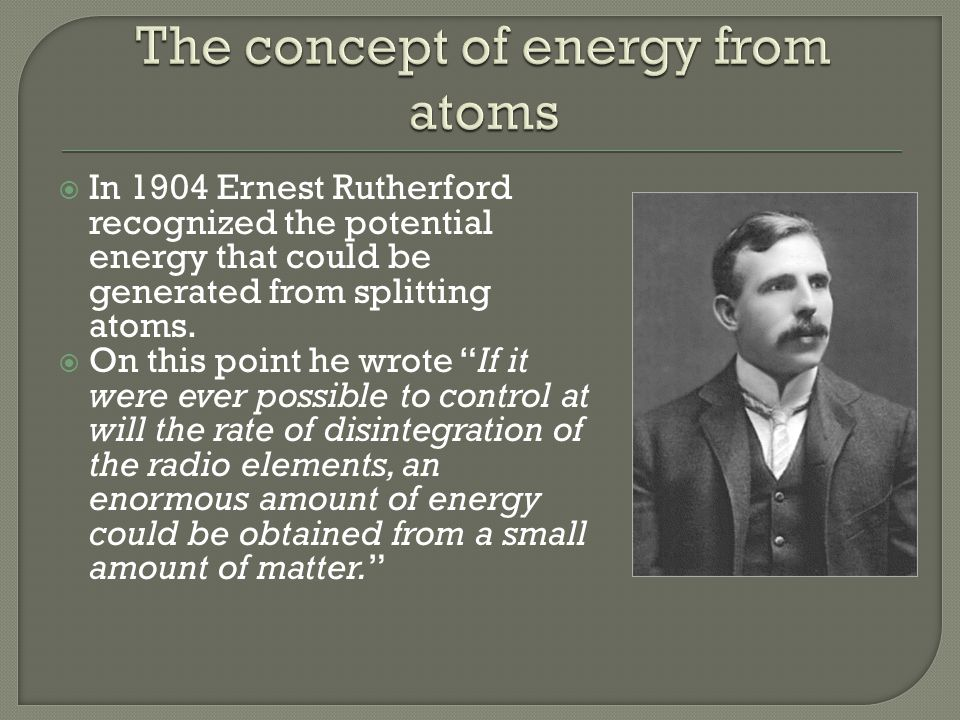 The concept of energy from atoms