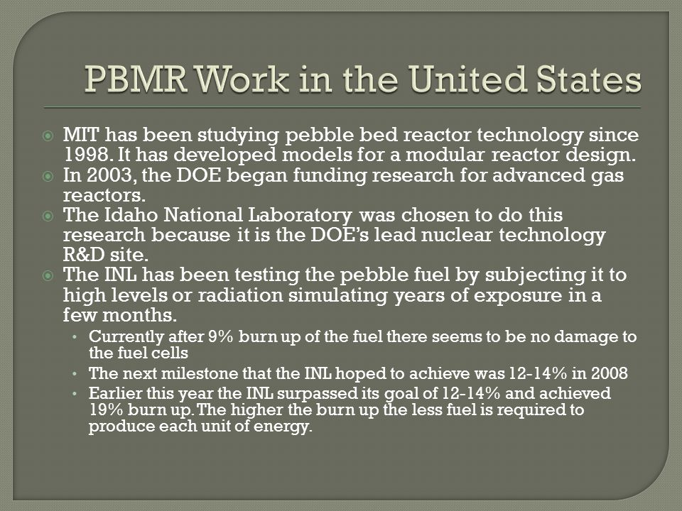 PBMR Work in the United States