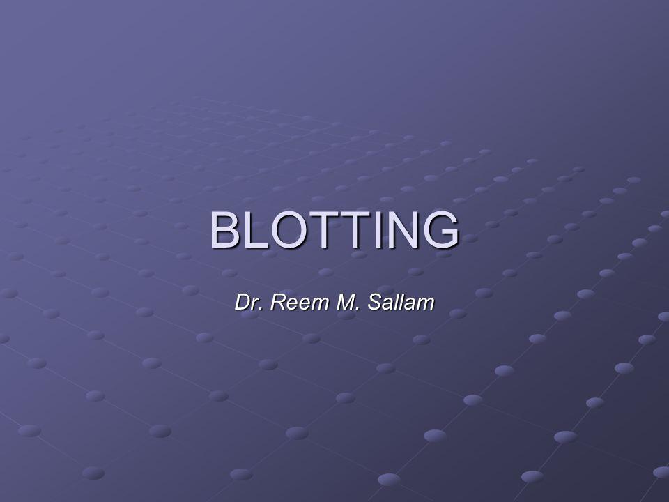 BLOTTING Dr. Reem M. Sallam