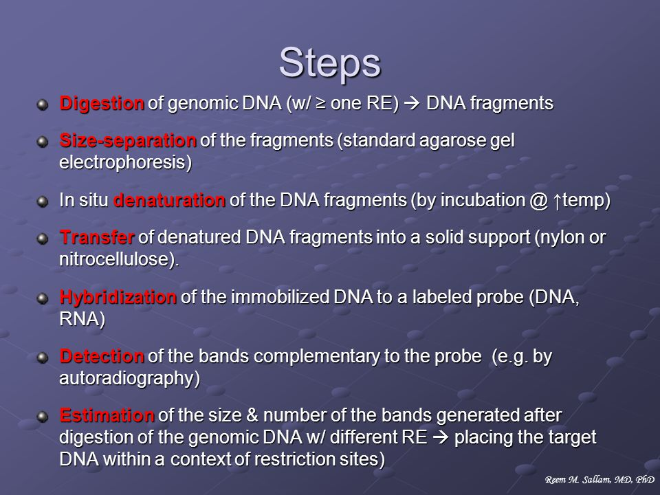 Steps Digestion of genomic DNA (w/ ≥ one RE)  DNA fragments