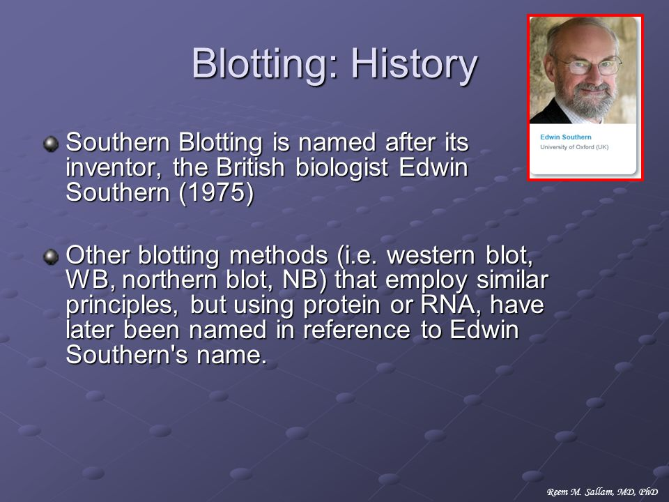 Blotting: History Southern Blotting is named after its inventor, the British biologist Edwin Southern (1975)