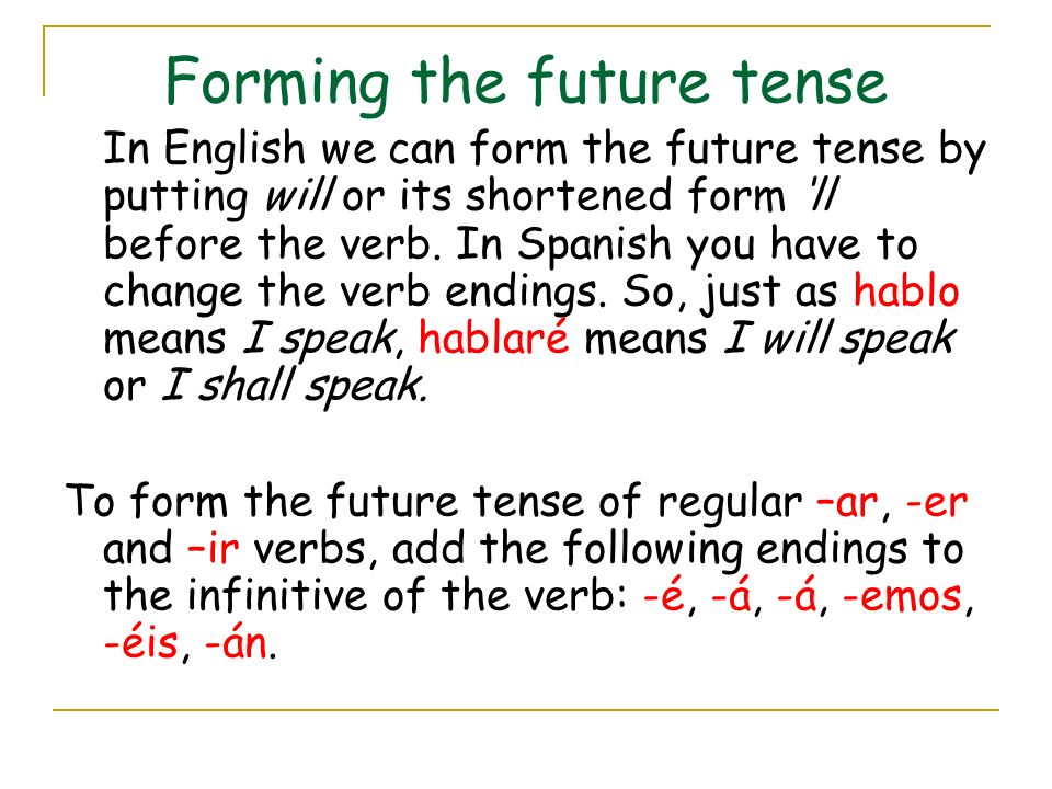Forming the future tense