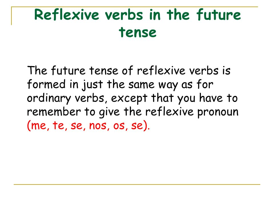 Reflexive verbs in the future tense