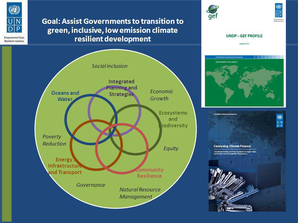 Goal: Assist Governments to transition to green, inclusive, low emission climate resilient development
