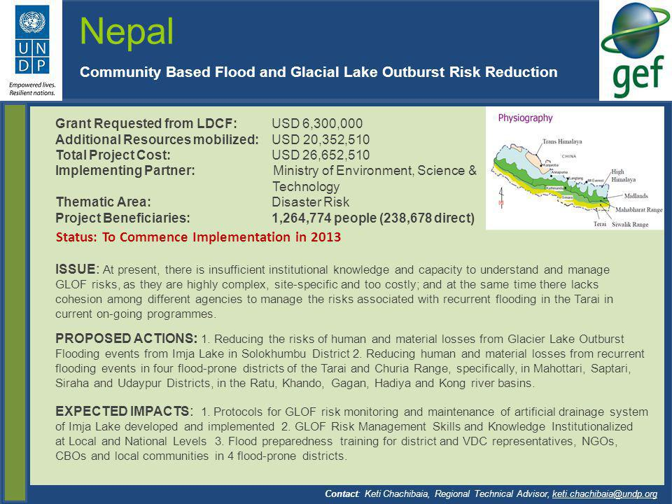 Nepal Community Based Flood and Glacial Lake Outburst Risk Reduction