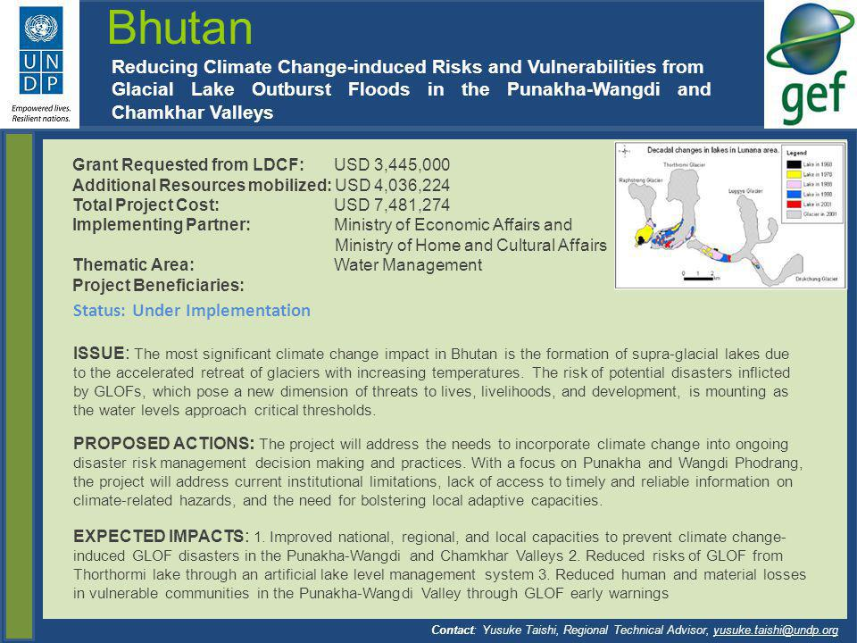 Bhutan Reducing Climate Change-induced Risks and Vulnerabilities from
