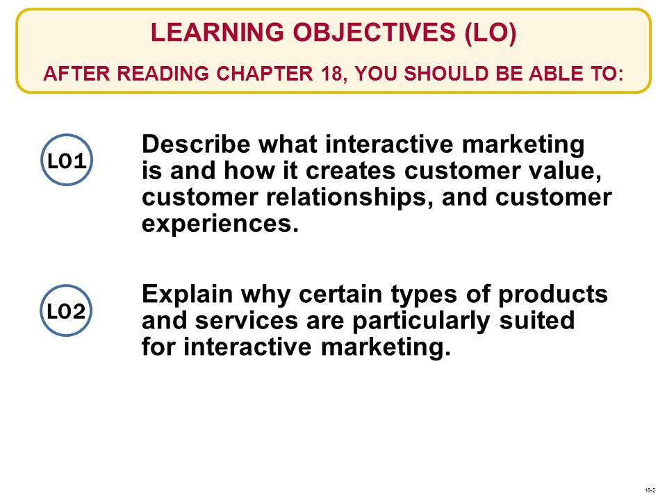 LEARNING OBJECTIVES (LO) AFTER READING CHAPTER 18, YOU SHOULD BE ABLE TO: