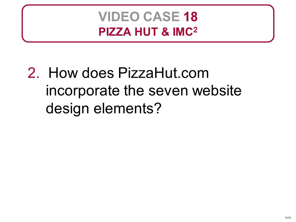 VIDEO CASE 18 PIZZA HUT & IMC2. 2. How does PizzaHut.com incorporate the seven website design elements
