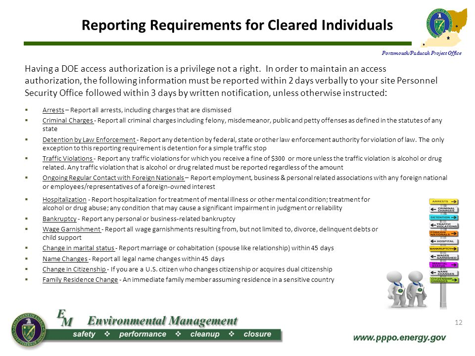 Reporting Requirements for Cleared Individuals