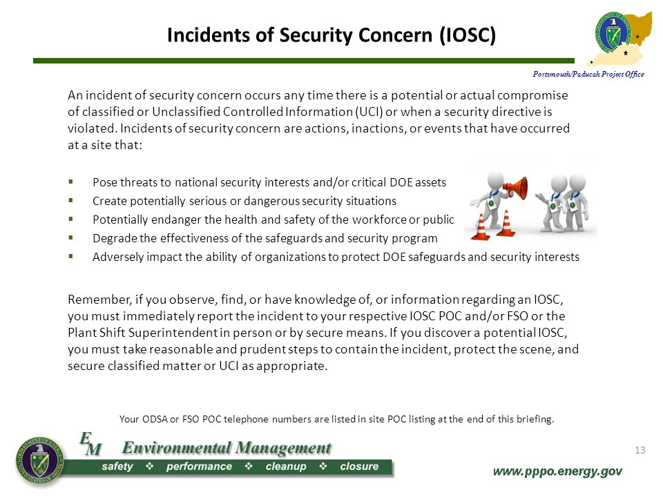 Incidents of Security Concern (IOSC)