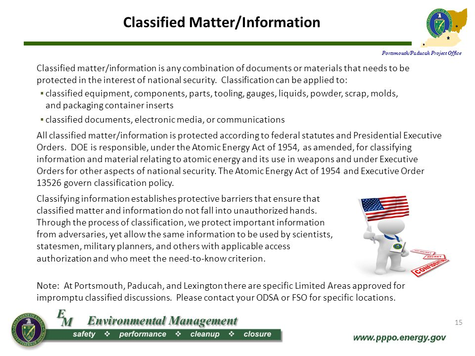 Classified Matter/Information