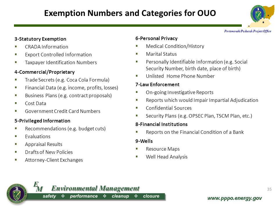 Exemption Numbers and Categories for OUO