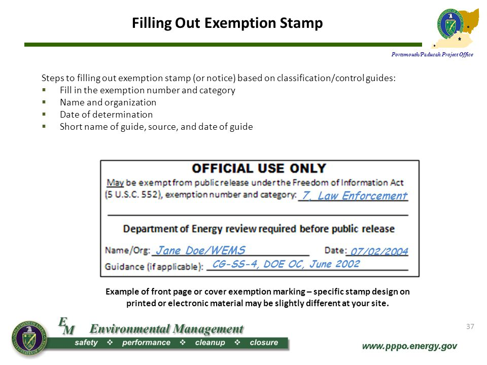 Filling Out Exemption Stamp Portsmouth/Paducah Project Office