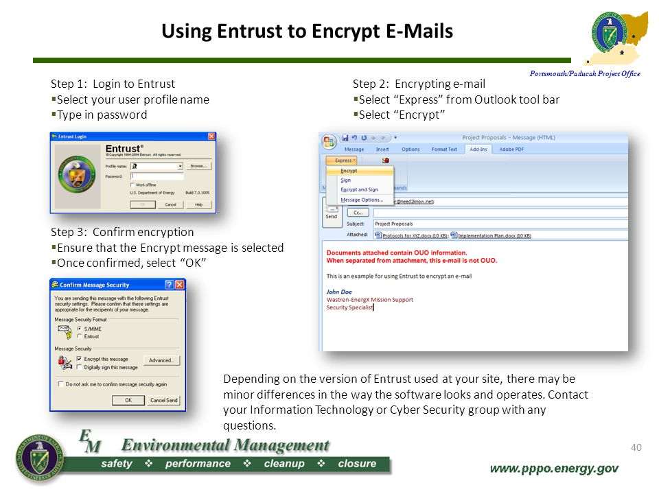 Using Entrust to Encrypt E-Mails Portsmouth/Paducah Project Office
