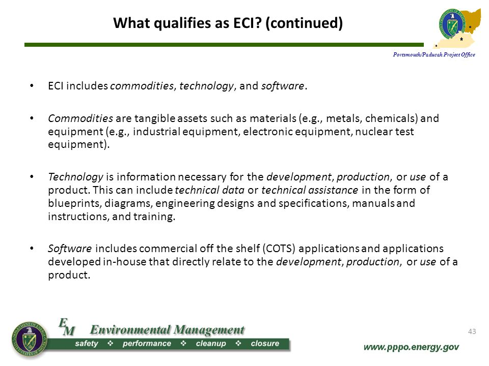 What qualifies as ECI (continued)