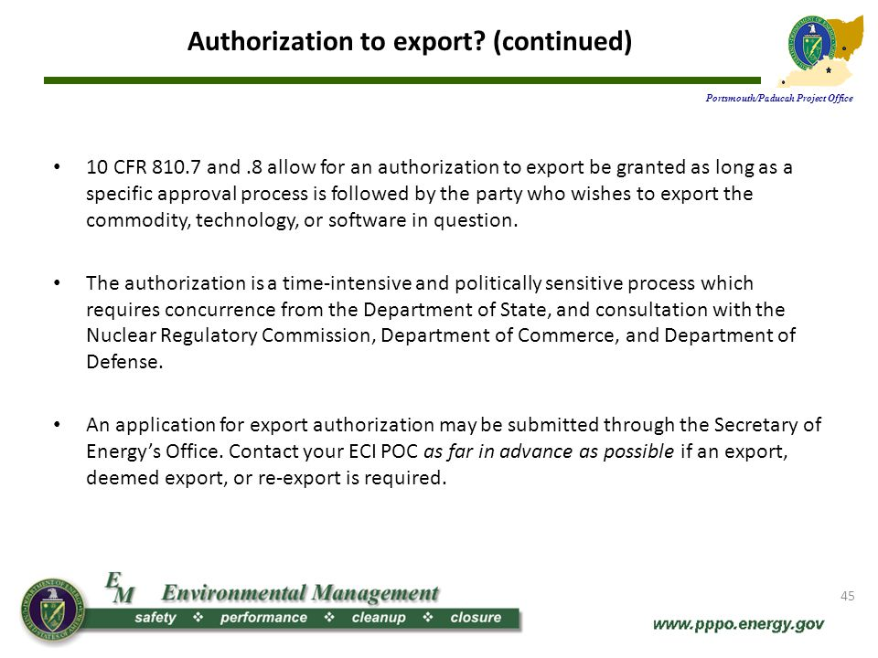 Authorization to export (continued)