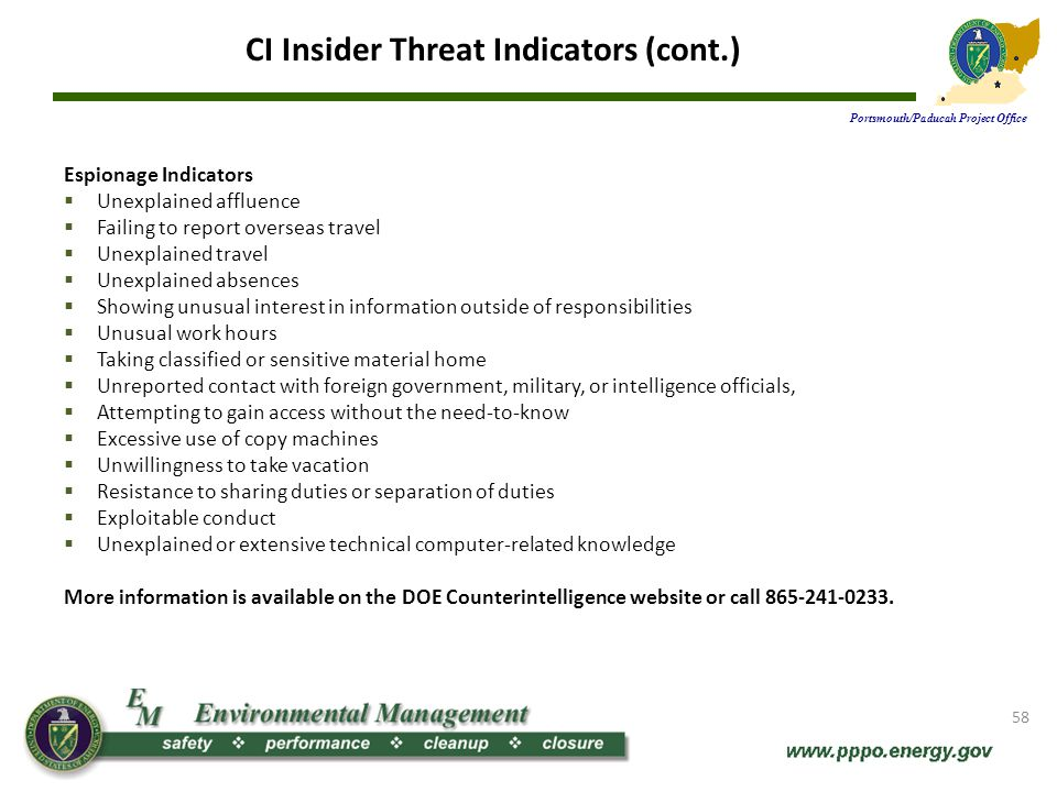 CI Insider Threat Indicators (cont.)