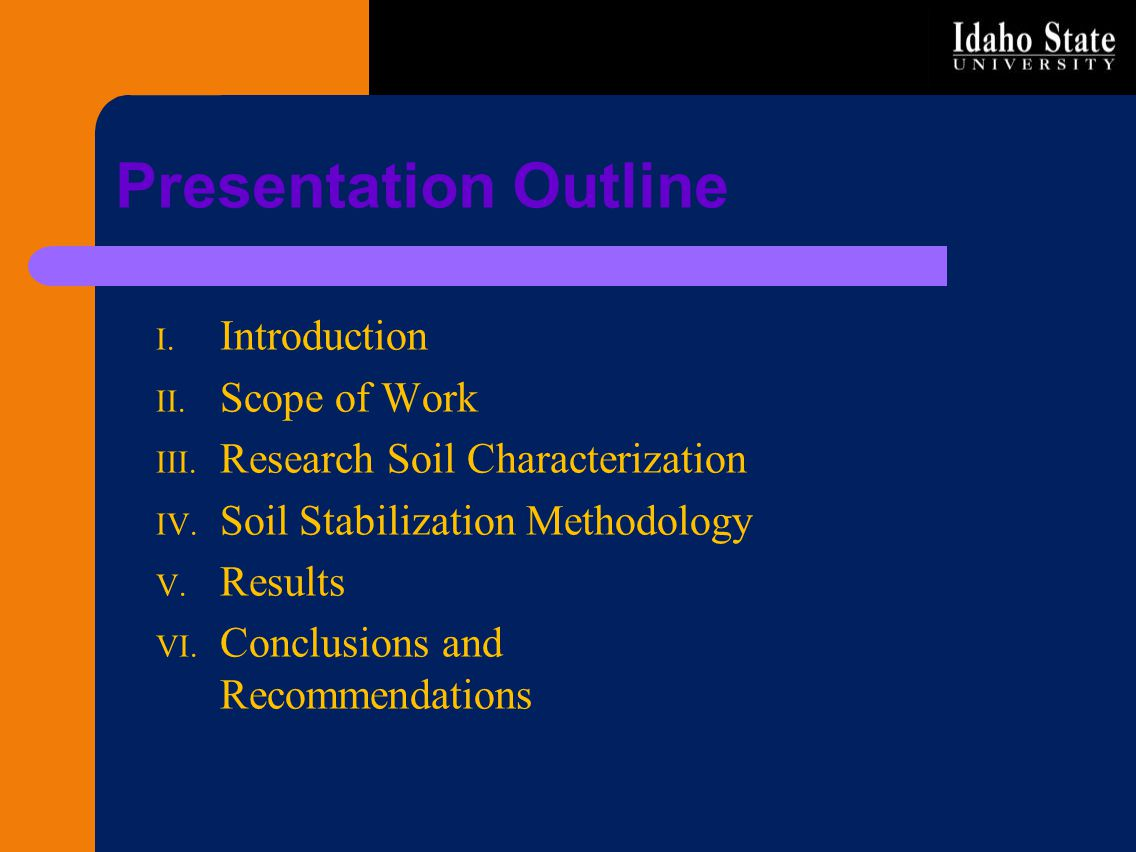 Presentation Outline Introduction Scope of Work