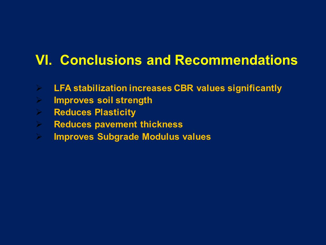 VI. Conclusions and Recommendations