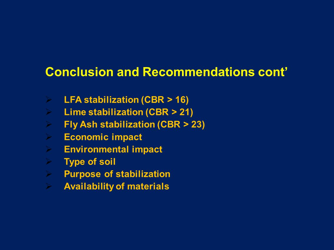 Conclusion and Recommendations cont'
