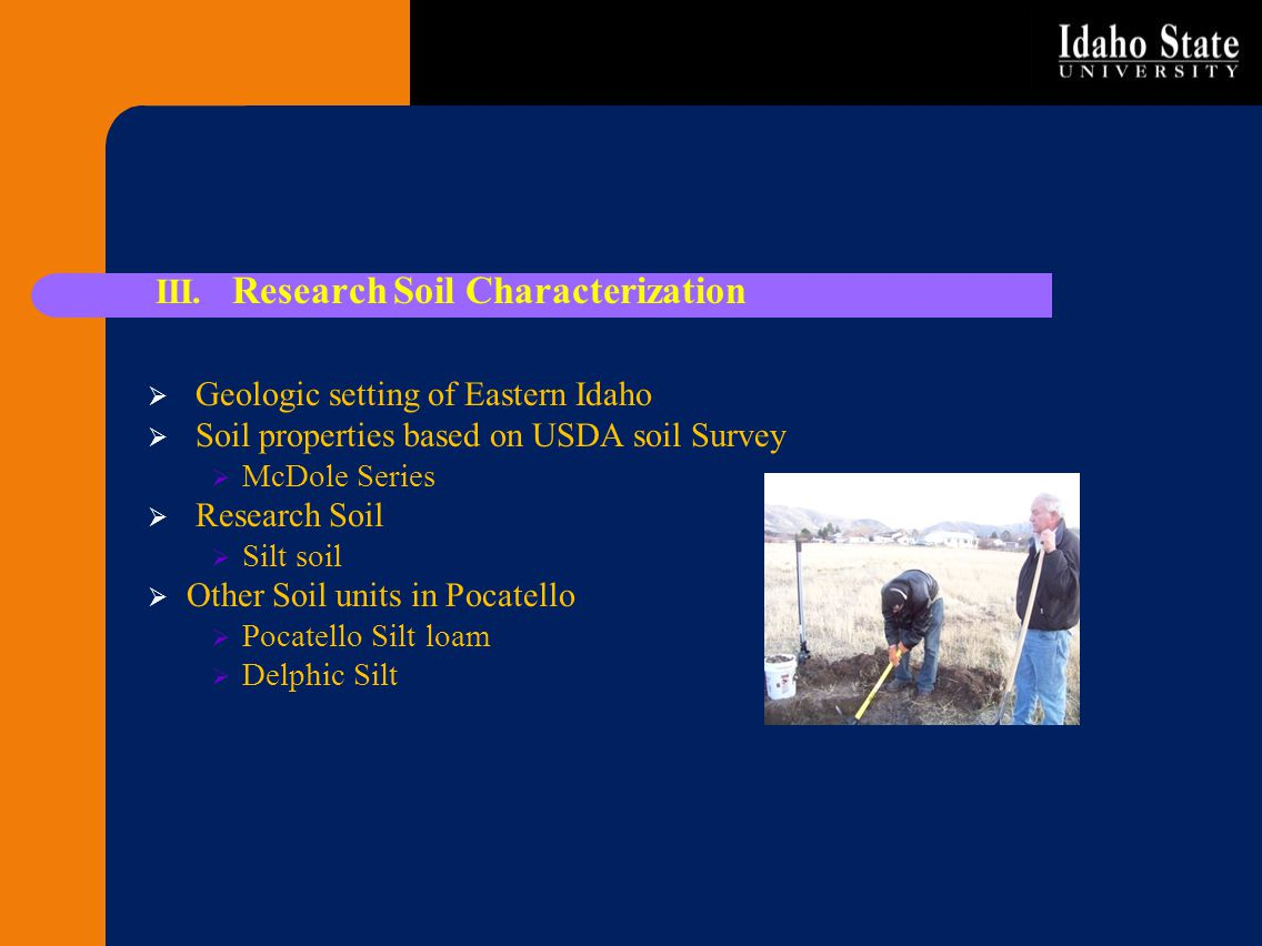 III. Research Soil Characterization