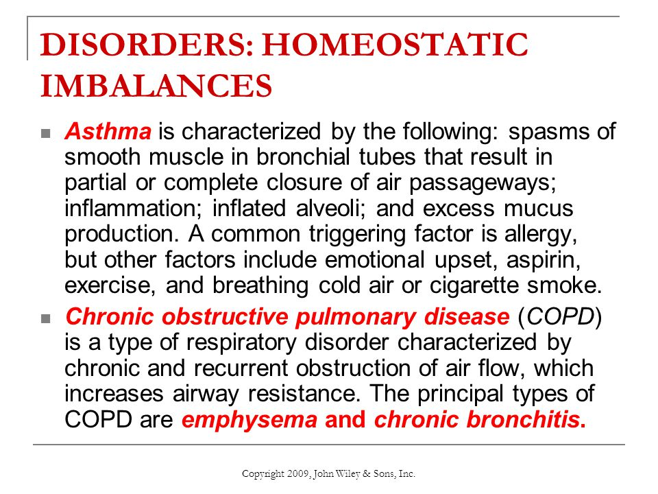 DISORDERS: HOMEOSTATIC IMBALANCES