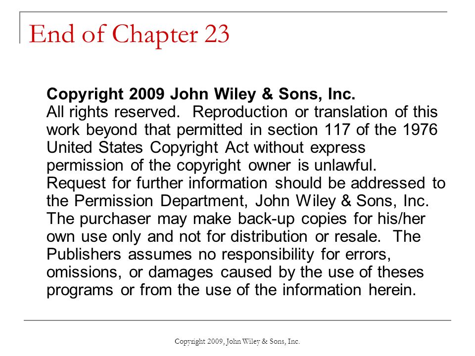 Copyright 2009, John Wiley & Sons, Inc.