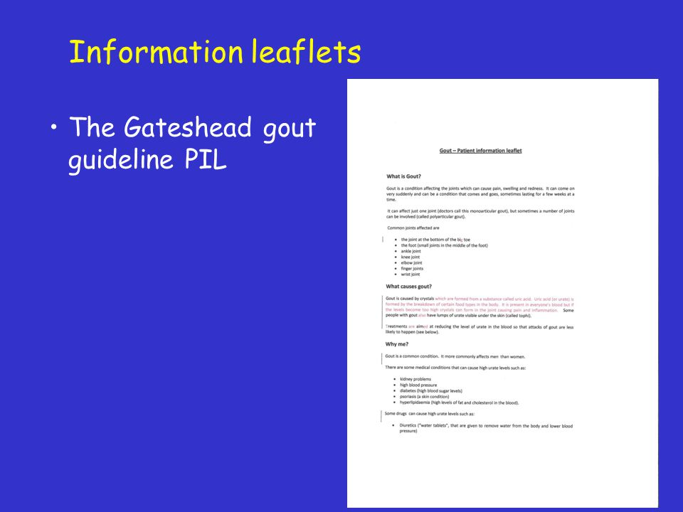 Information leaflets The Gateshead gout guideline PIL