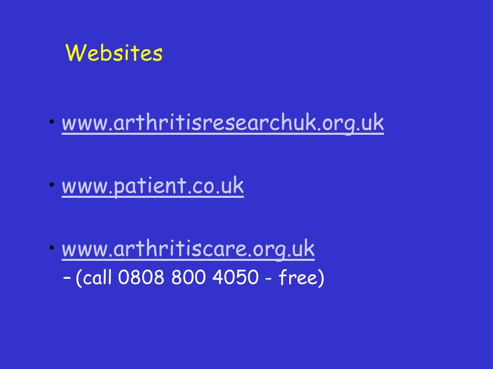 Websites www.arthritisresearchuk.org.uk www.patient.co.uk