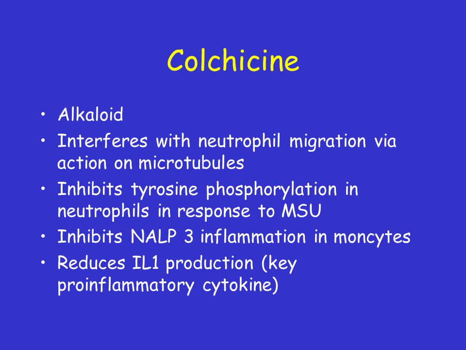 Colchicine Alkaloid. Interferes with neutrophil migration via action on microtubules.