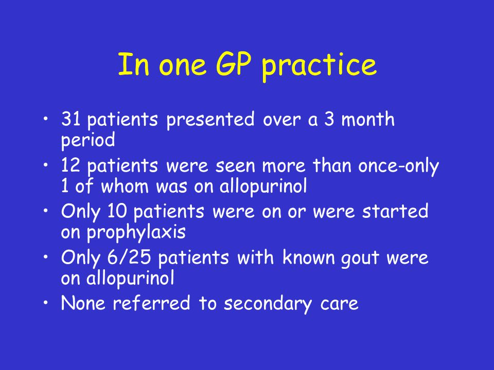 In one GP practice 31 patients presented over a 3 month period