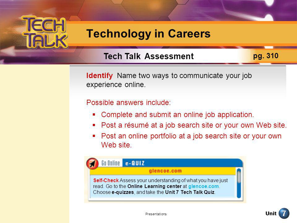 Technology in Careers Tech Talk Assessment pg. 310