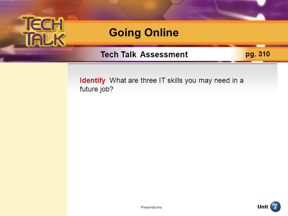 Going Online Tech Talk Assessment pg. 310