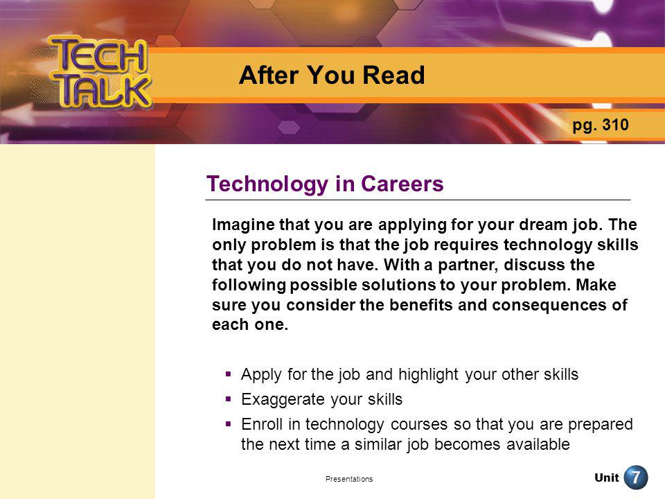 After You Read Technology in Careers pg. 310